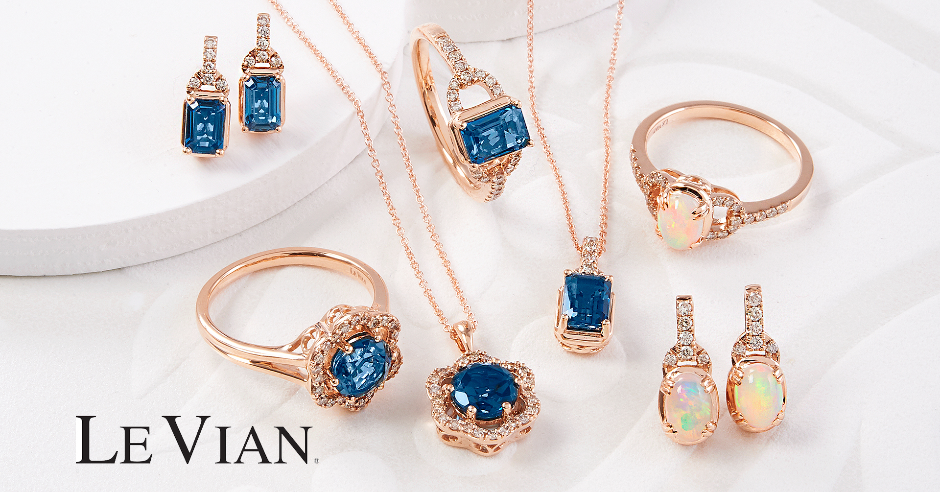 Le Vian rose gold and blue gemstone jewelry