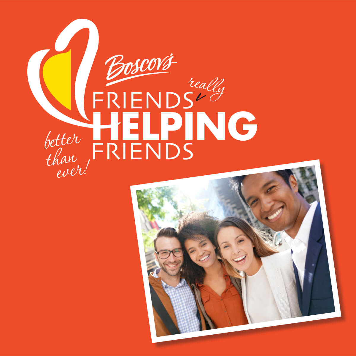 Friends Helping Friends orange poster with a photo of a group of friends