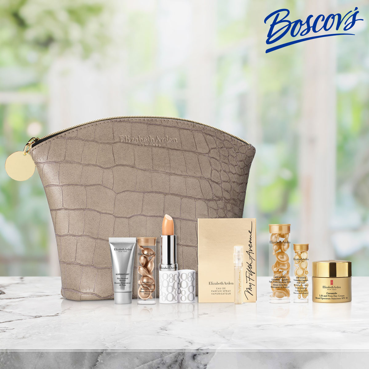 beige crocodile pattern gift bag with mini elizabeth arden beauty gifts