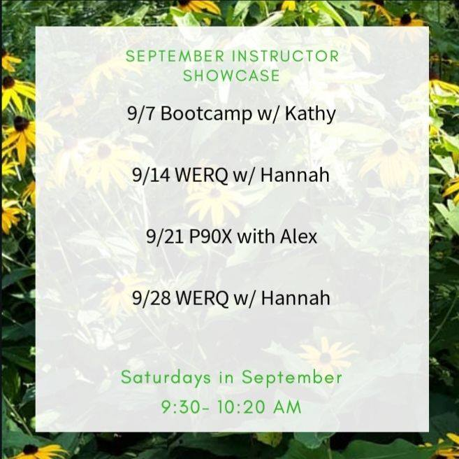Instructor Showcase Schedule for September