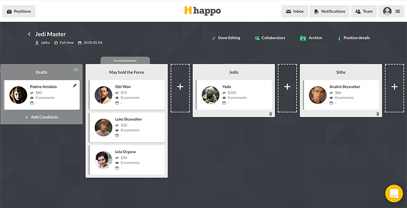 Customize your recruitment pipeline in Happo