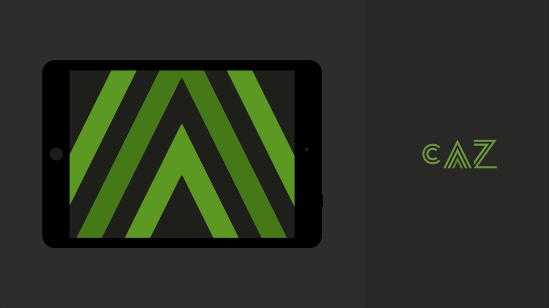 CAZ Tablet ipad logo animation