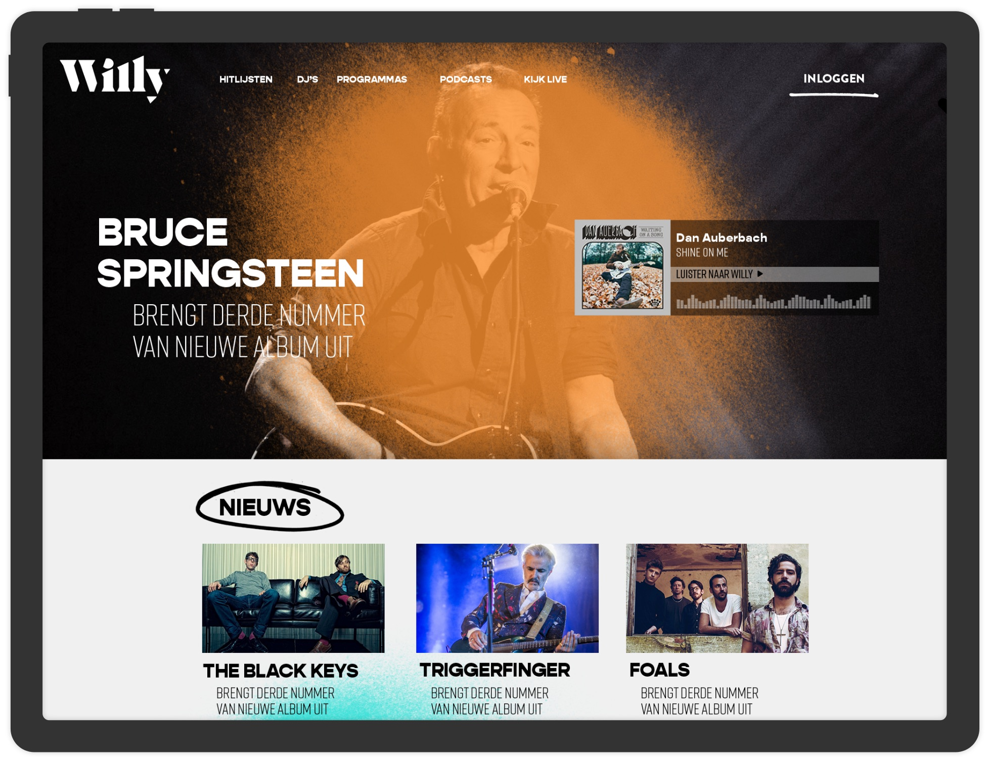 Willy Radio iPad website