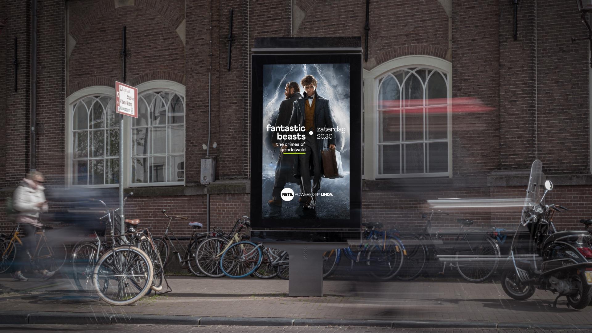 Net5 channel brand billboard abri