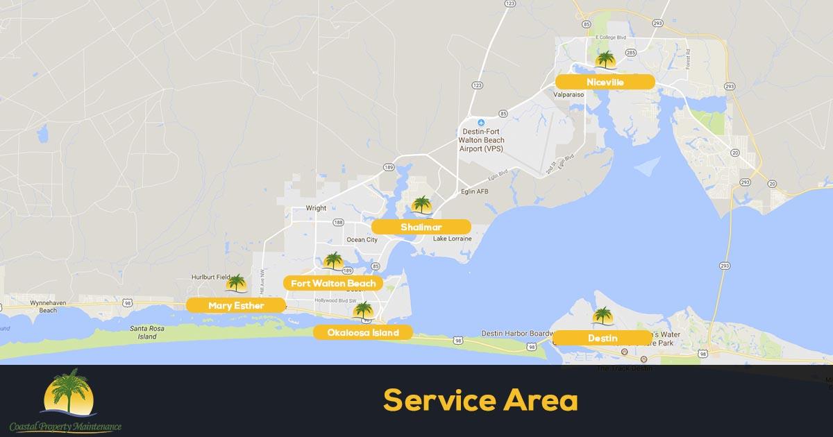 Coastal Property Maintenance Lawn Care Service Area