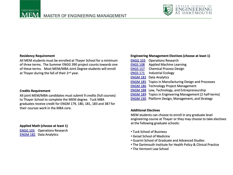 Dartmouth MEM Program Options