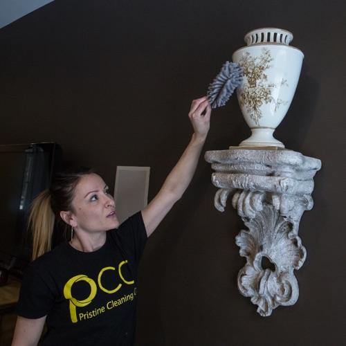 Dusting a vase in for a home cleaning
