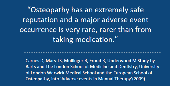 osteopathy has a safe reputation and a major adverse event occurrence is very rare