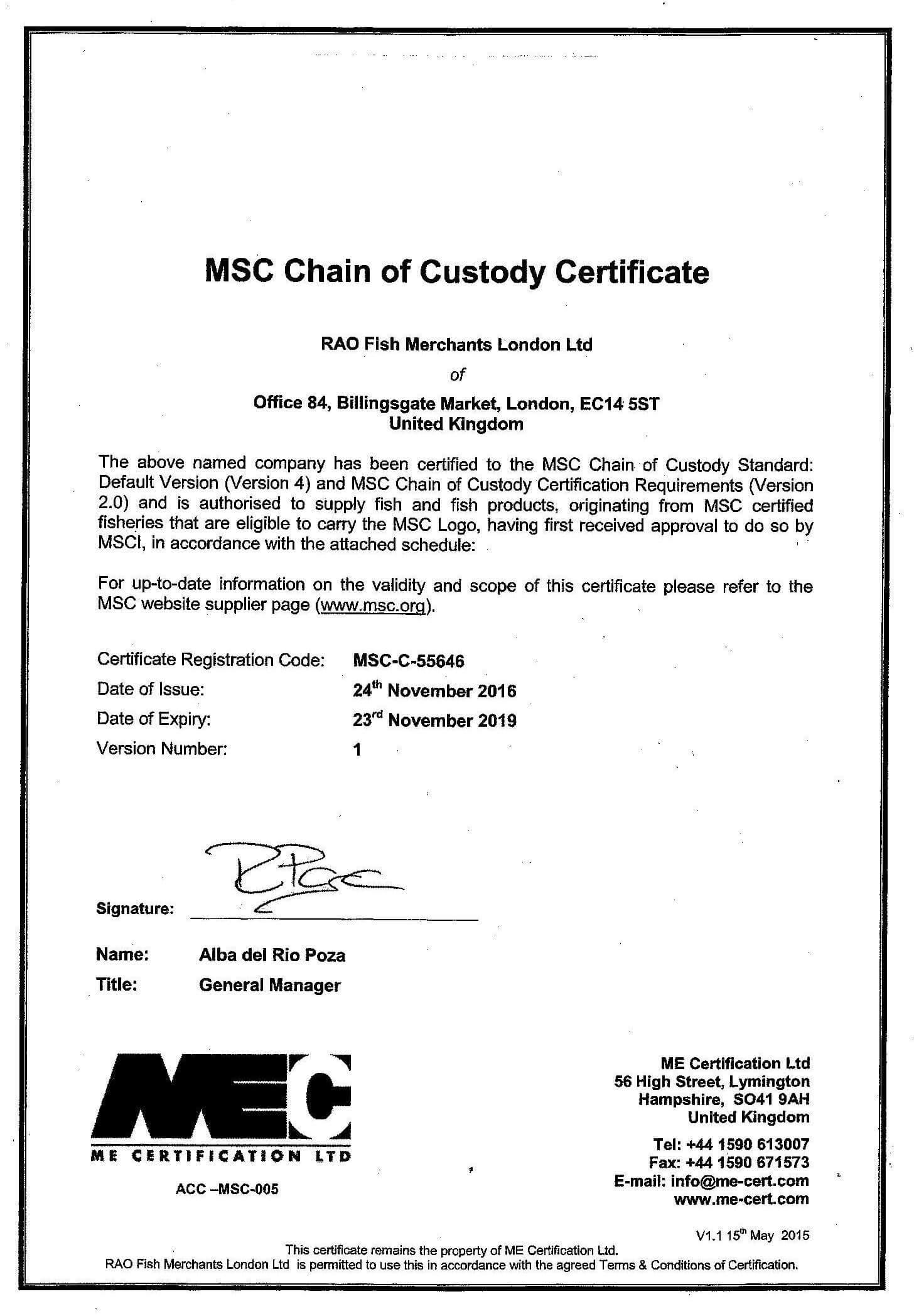 MSC Certificate for RAO Fish Merchants