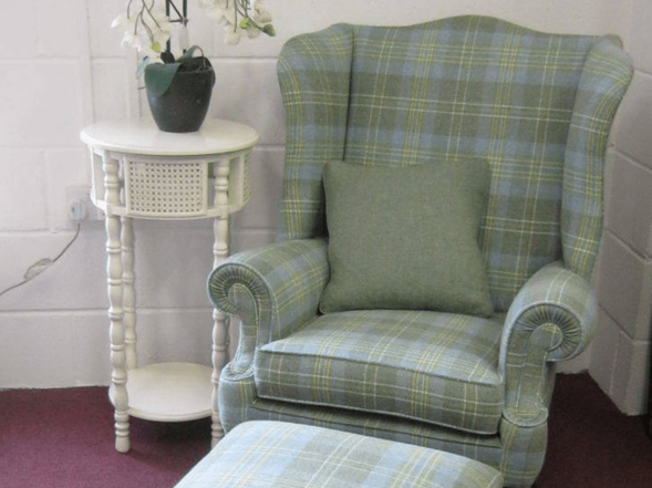 Example of armchair that has ben upholstered by Oak Tree
