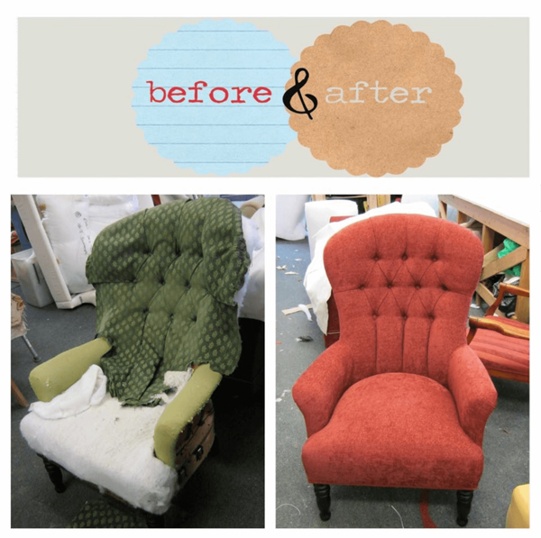 Chair image showing before and after repair by Oak Tree