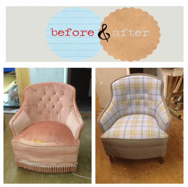 Before and after image of another chair repaired by Oak Tree