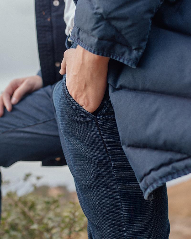 Closeup image of denim jeans and coat