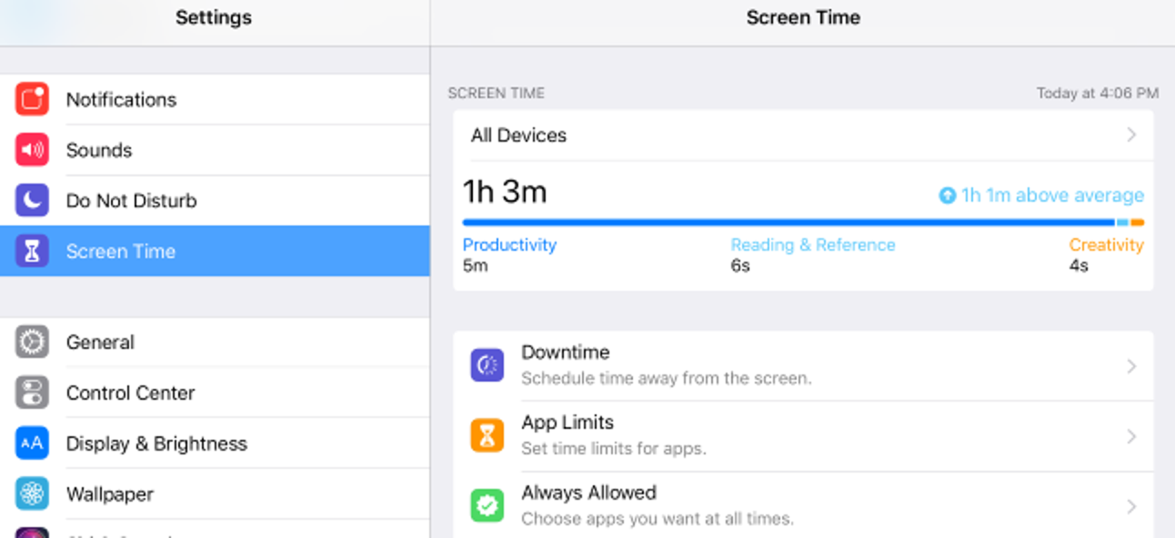 Screen shot of screen time on iPhone