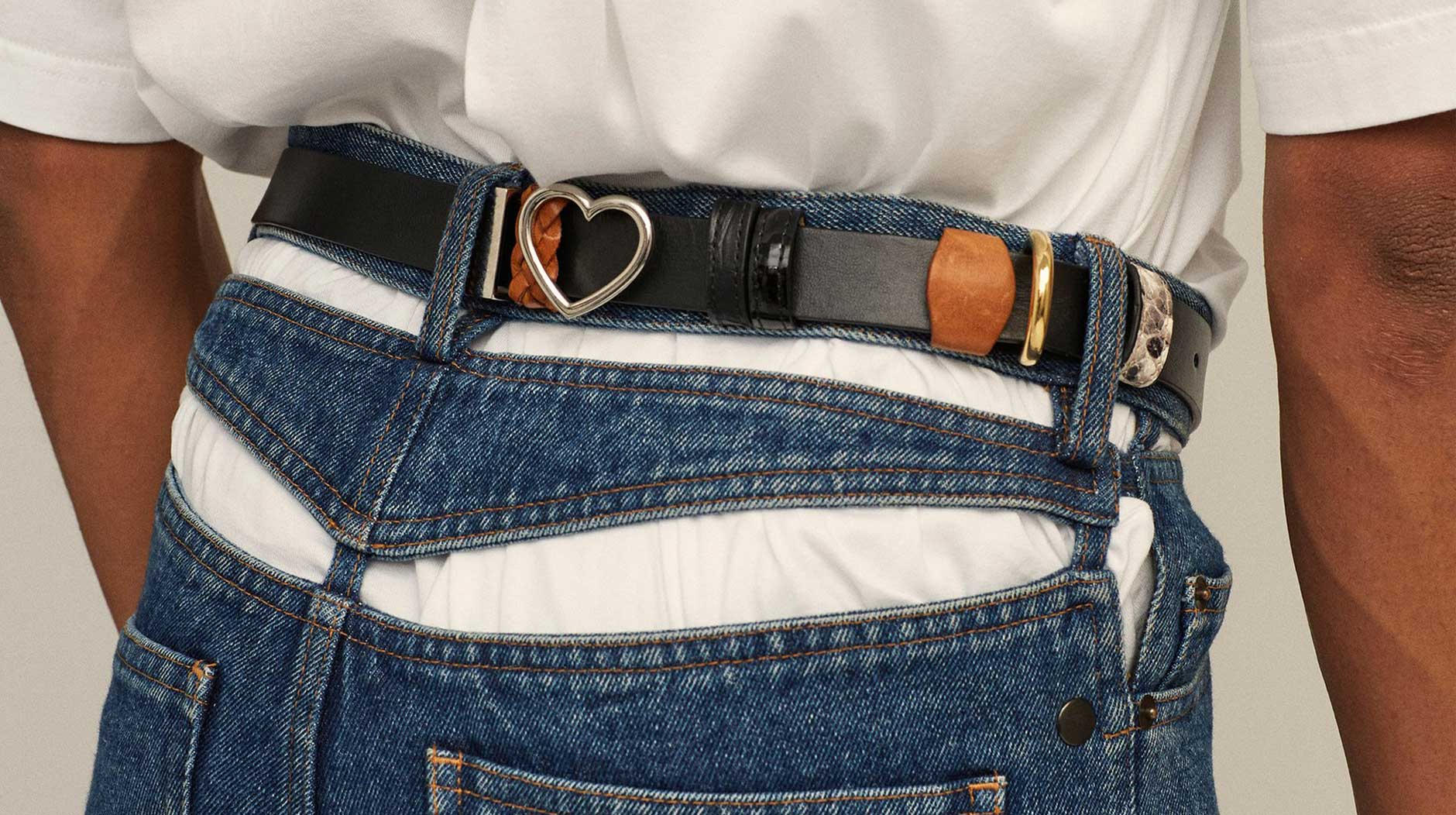 Y/Project Denim jeans with slashed cuts in the waist area