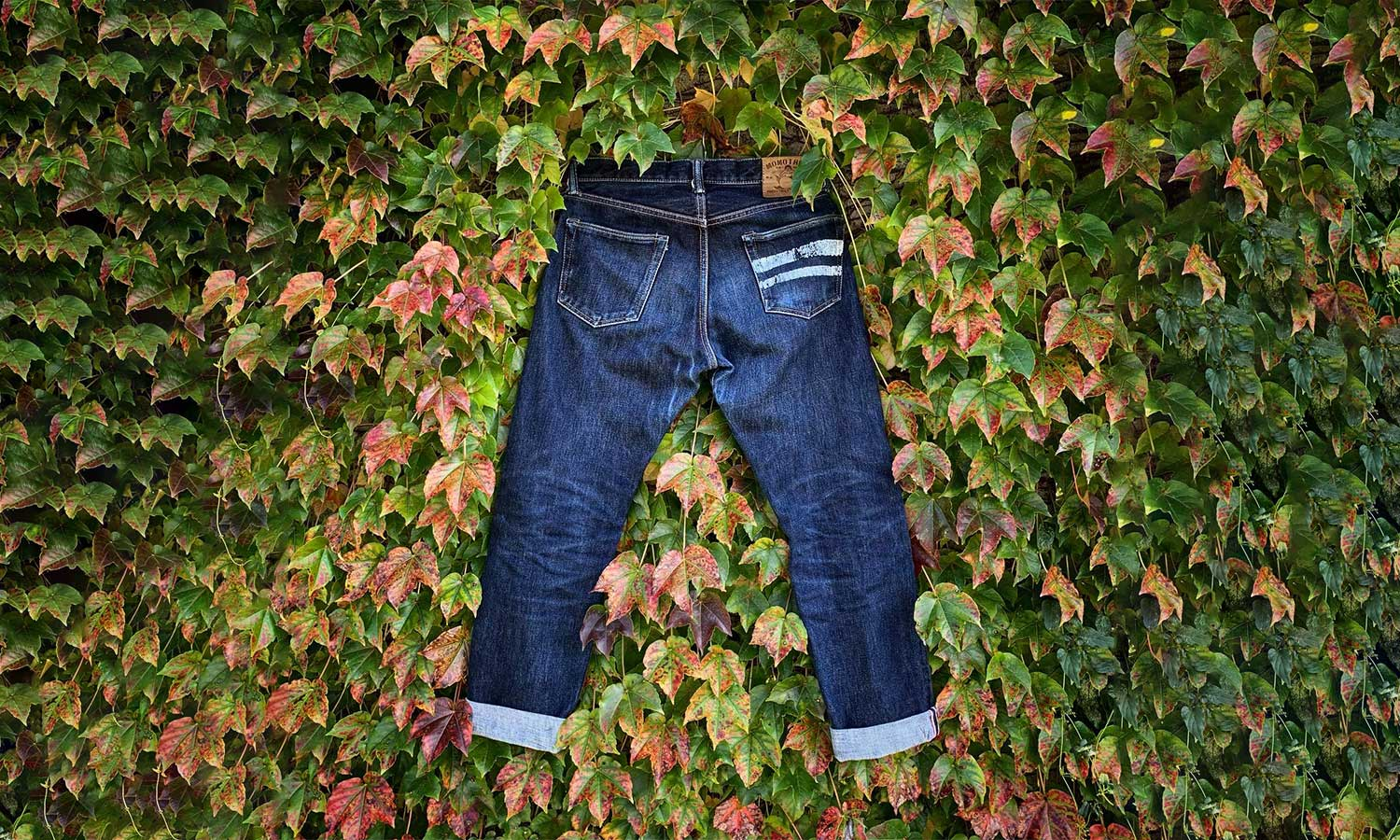 Jeans with two white stripes on its right pocket placed on a bed of leaves