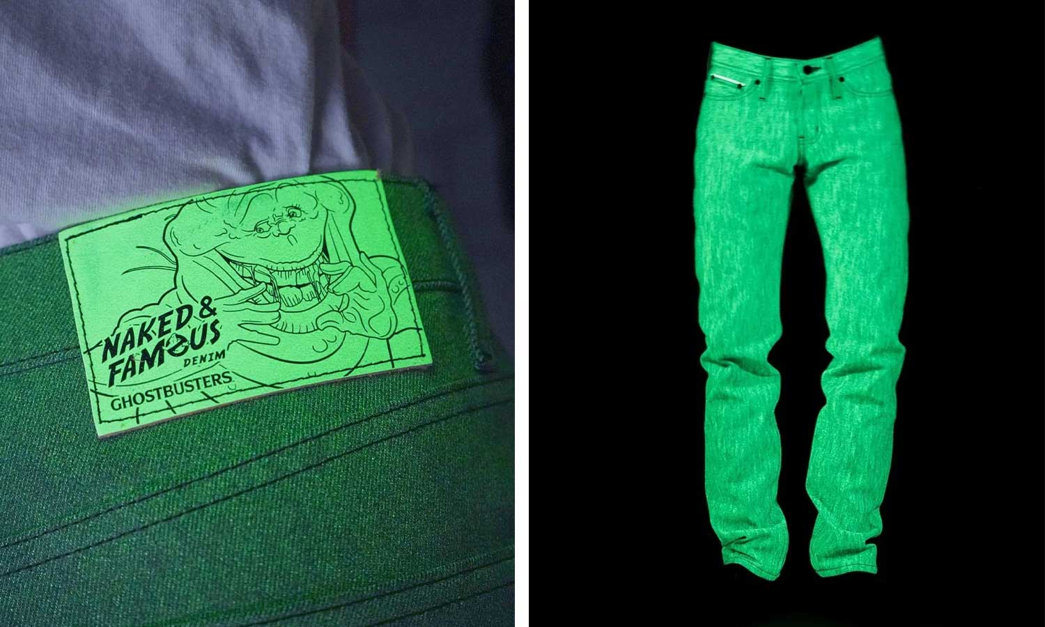 Glow-in-the-dark denim with ghostbusters logo on the leather patch