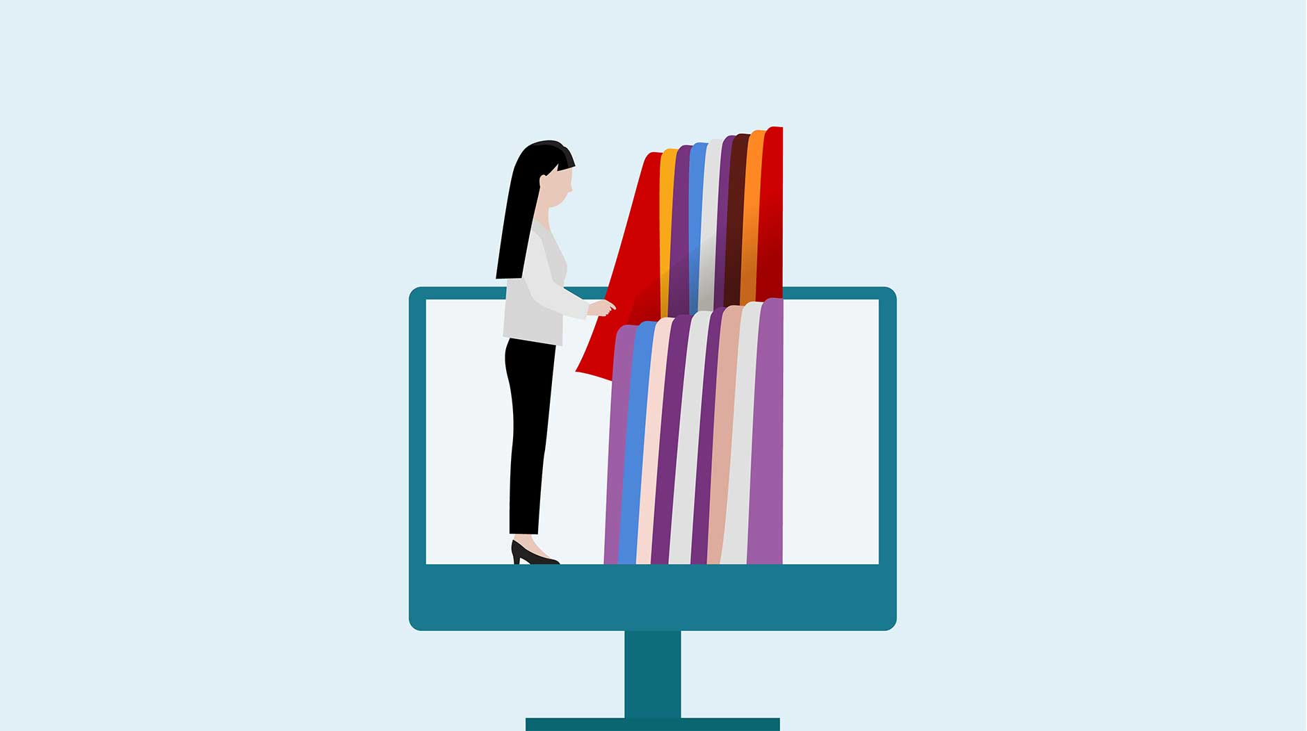Illustration of a woman going through fabric from a desktop