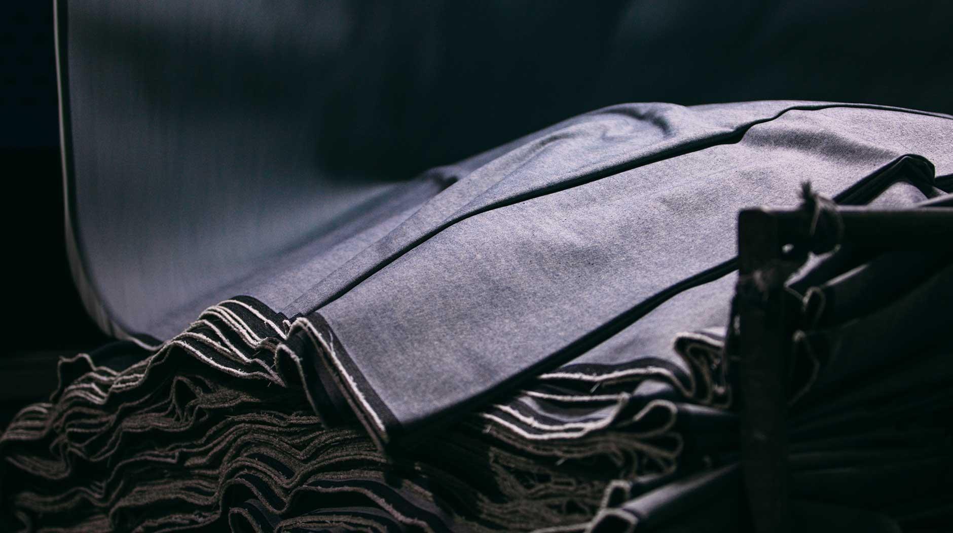 Layers of denim fabric