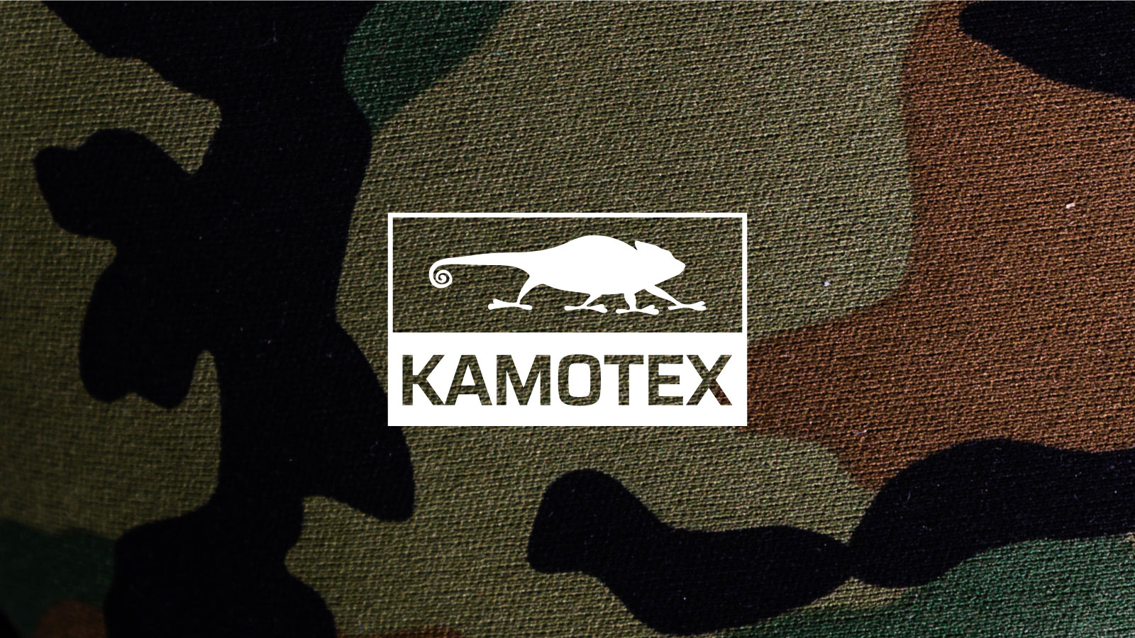 KAMOTEX white logo lockup with military camouflage background