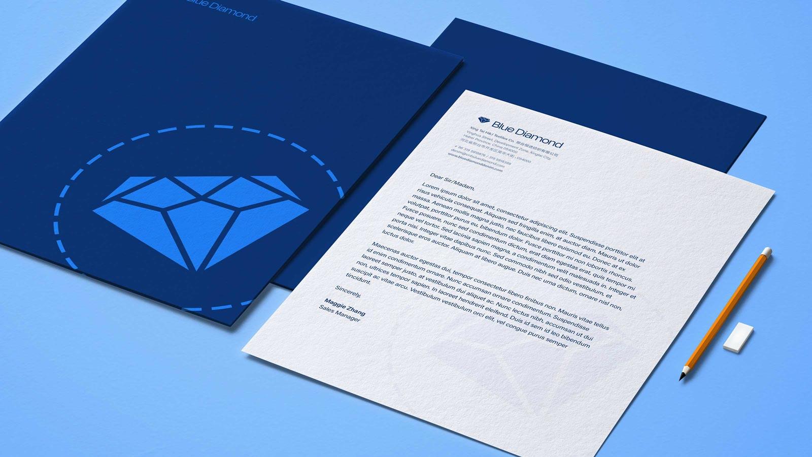 Blue Diamond stationery mockups