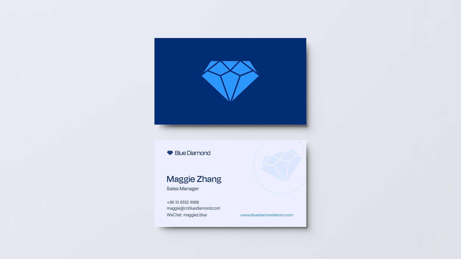 Blue Diamond business cards mockup