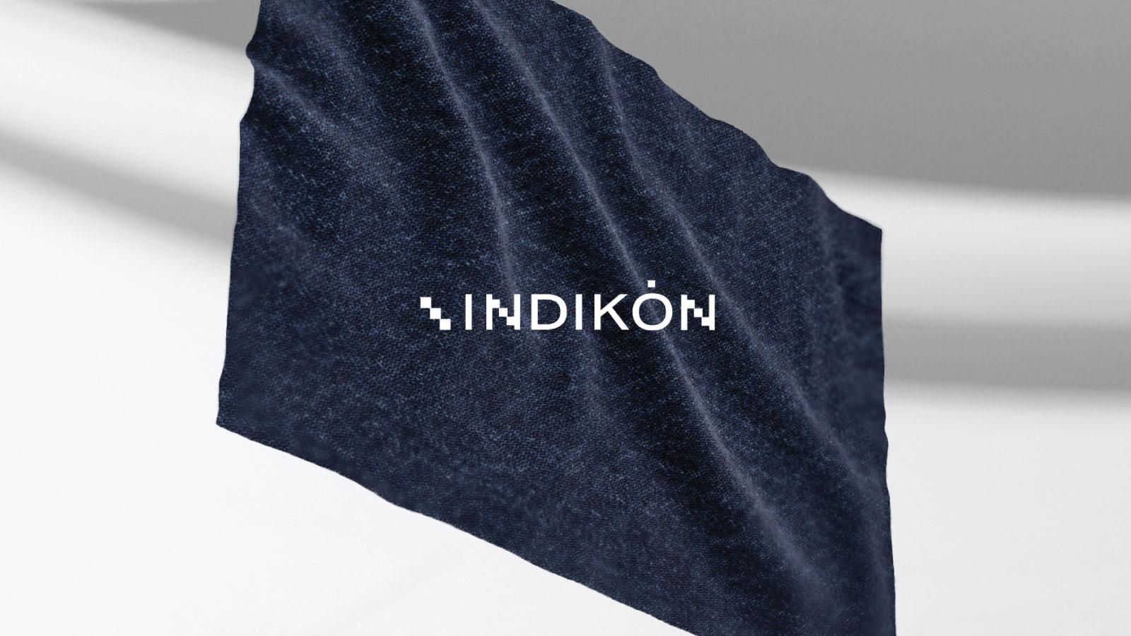 3D Denim Garment Banner with INDIKON White Logo