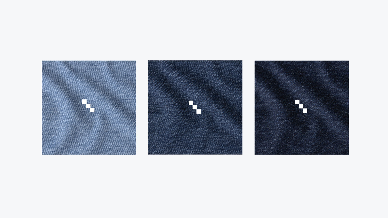 INDIKON logomark on three denim fabrics with different shades