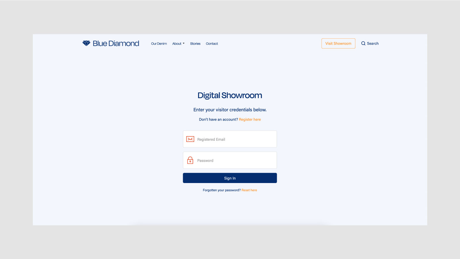 Blue Diamond Digital Showroom Sign In Page