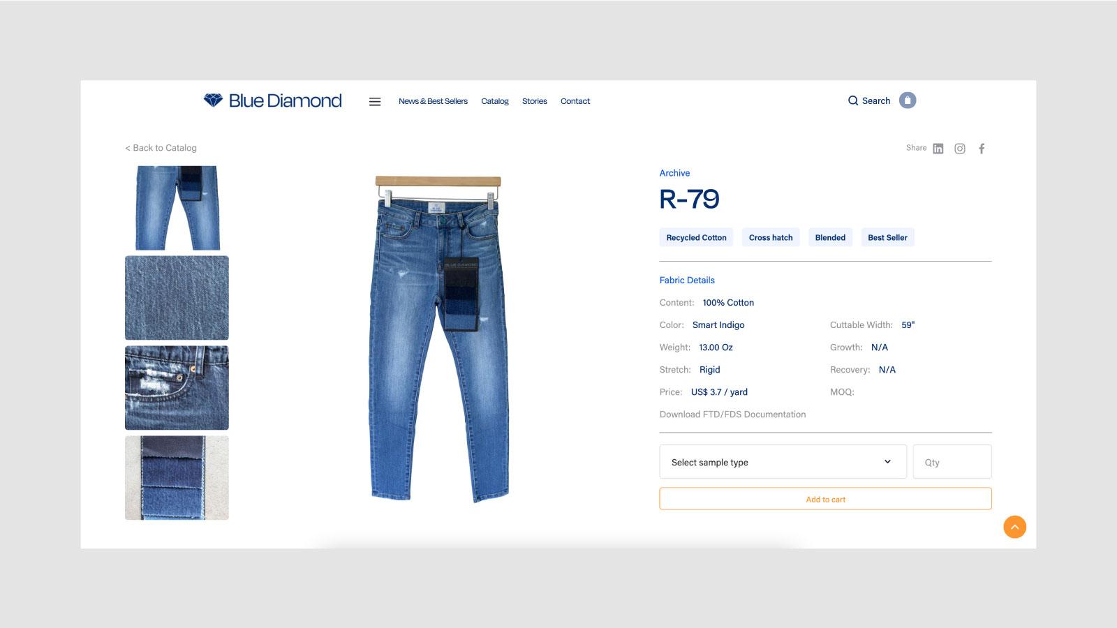 Blue Diamond Digital Showroom Fabric Detail Page