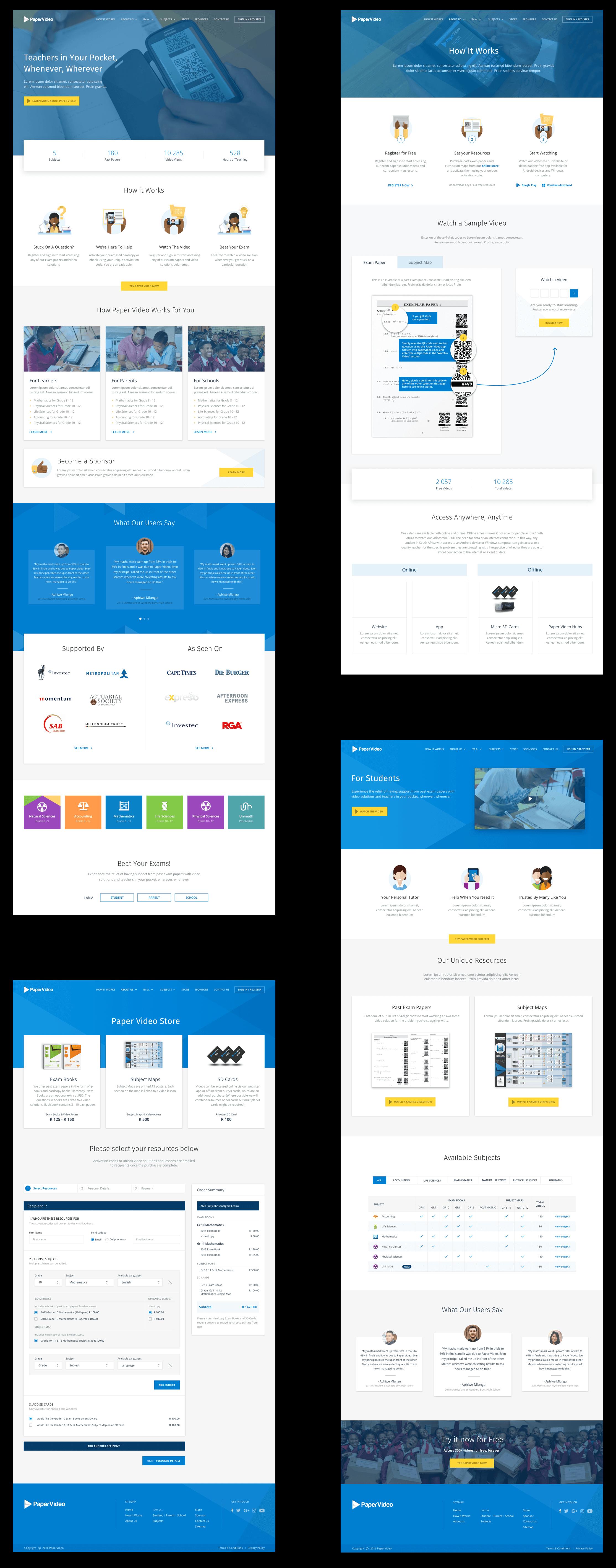 PaperVideo Website Screen Designs