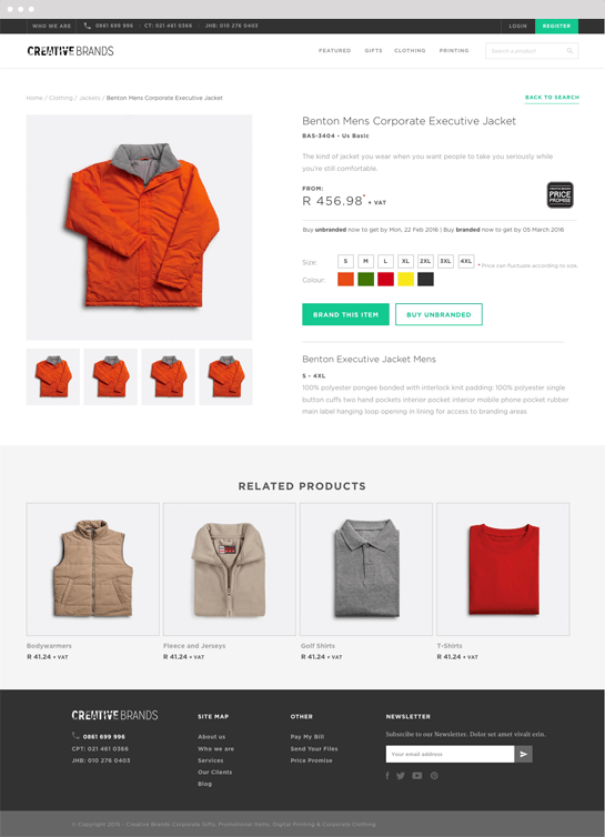 Creative Brands Desktop Product Page Design