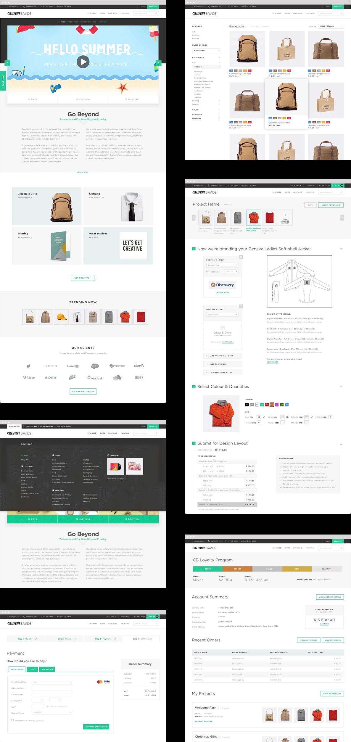 Creative Brands Website Screen Designs