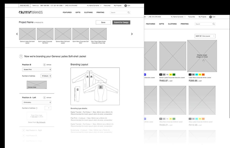 Creative Brands Desktop Site Wireframes