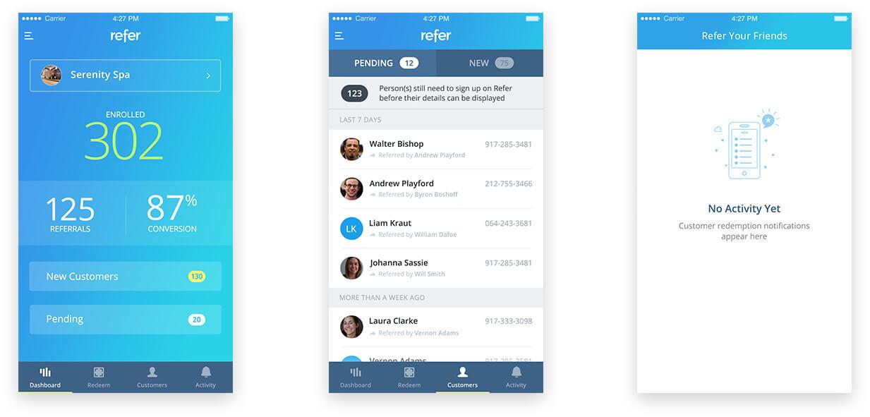 Refer Merchant Portal Mobile Screen Designs