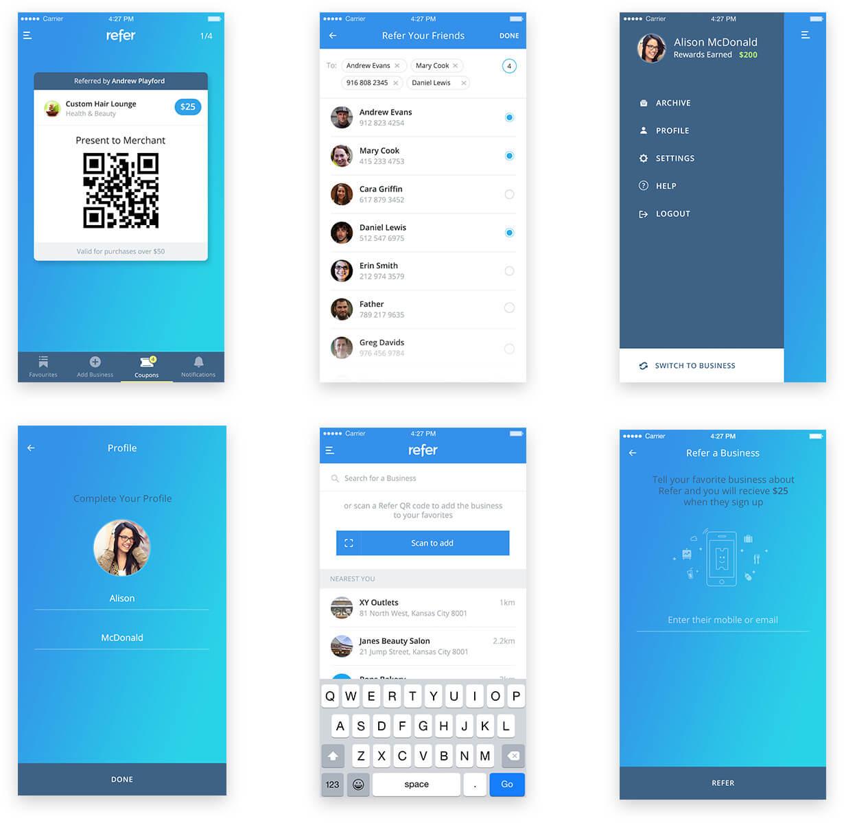 Refer Mobile App Screen Designs