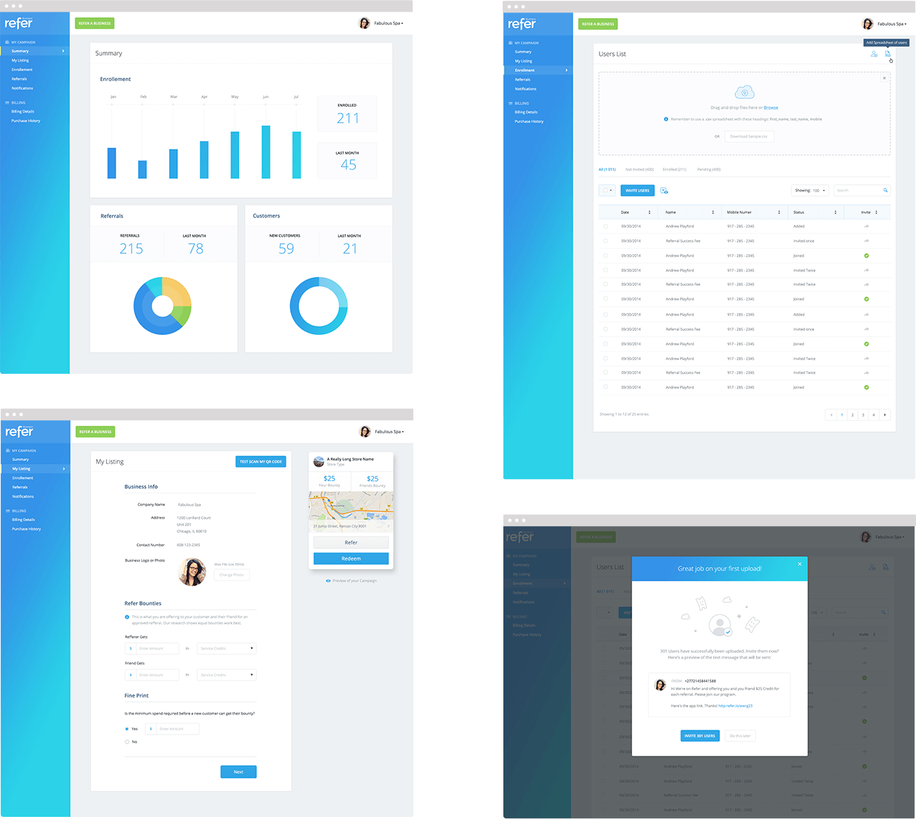 Refer Desktop Merchant Portal Designs