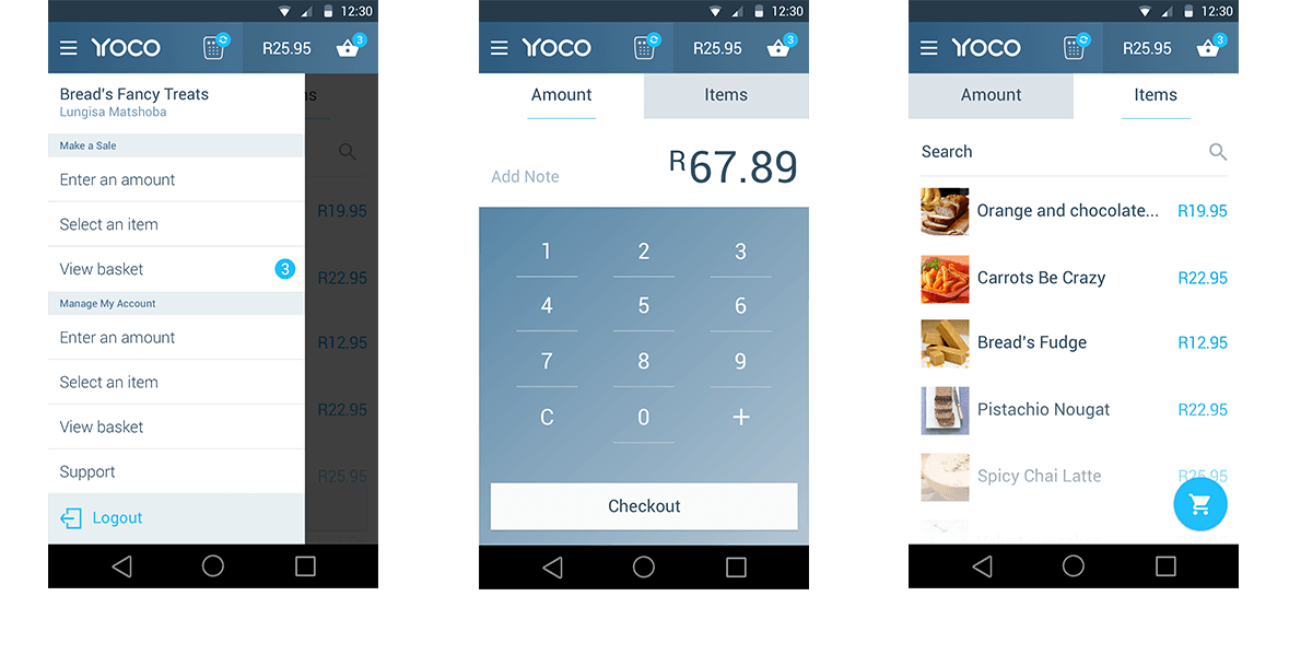 Yoco Mobile Android Screen Designs