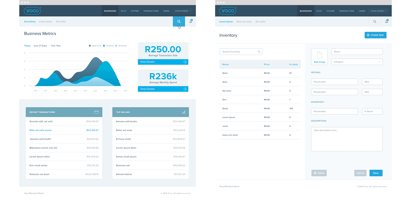 Yoco Merchant Portal Screen Designs