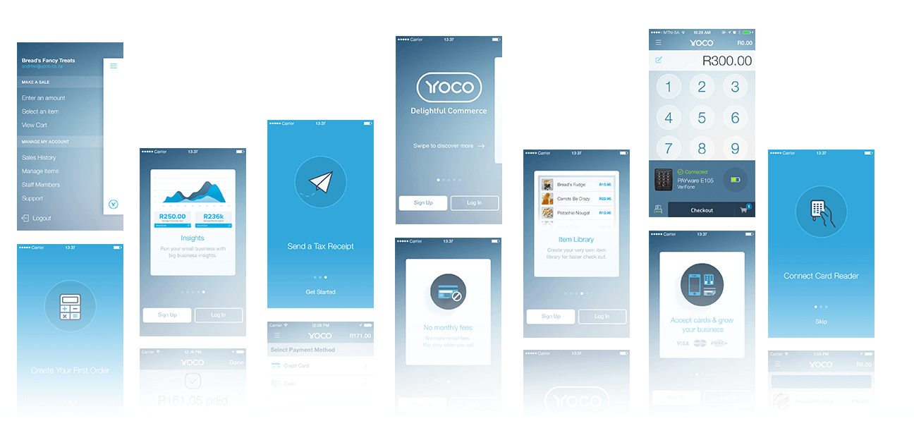 Yoco Multiple iOS App Screen Designs