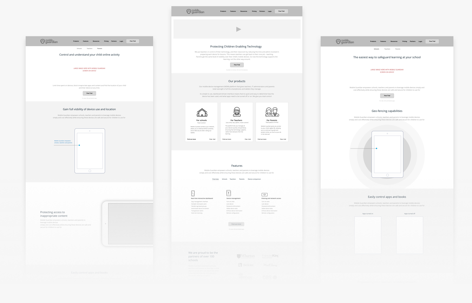 Mobile Guardian Wireframes for Website Design