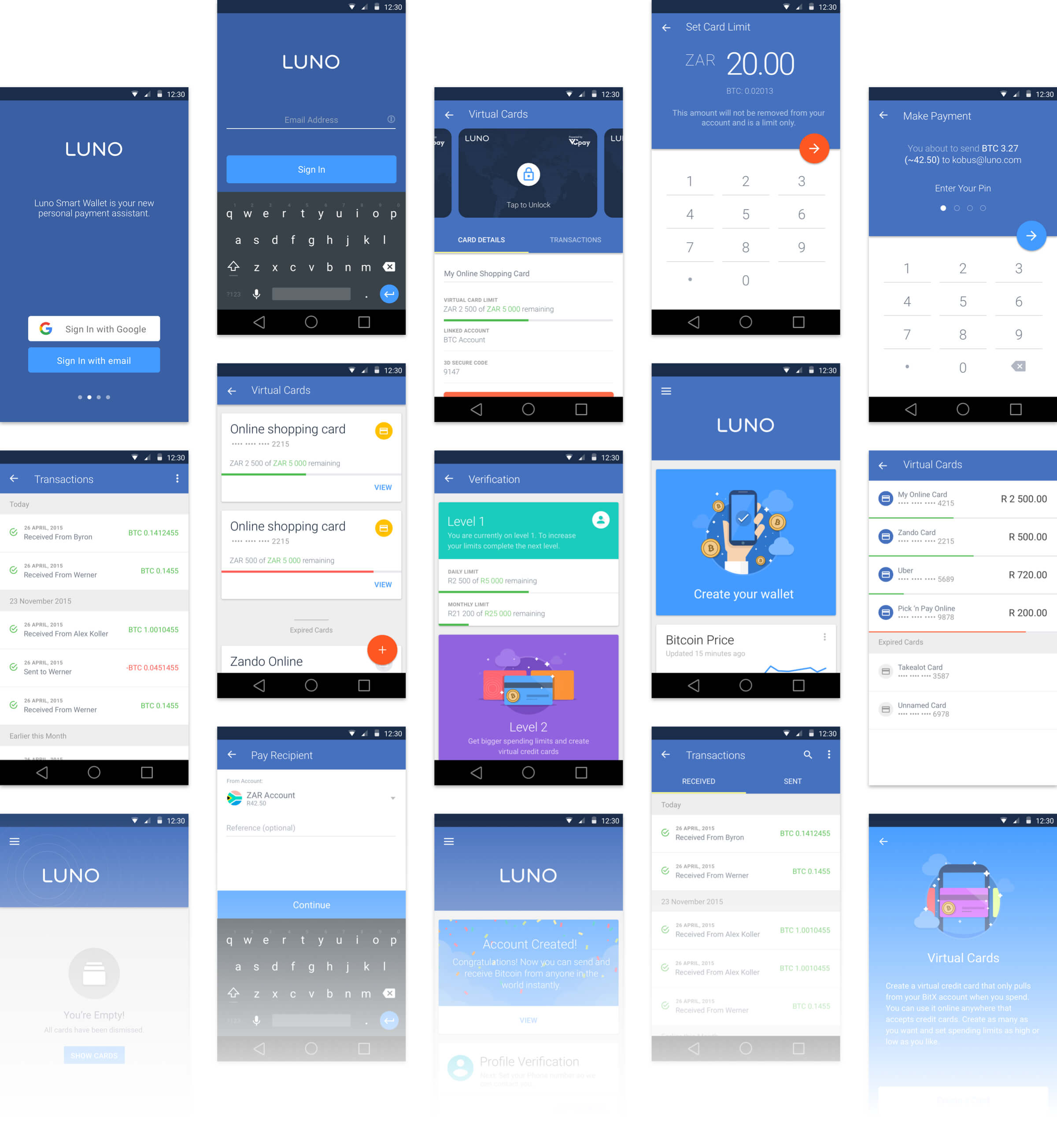 multiple luno android screen designs