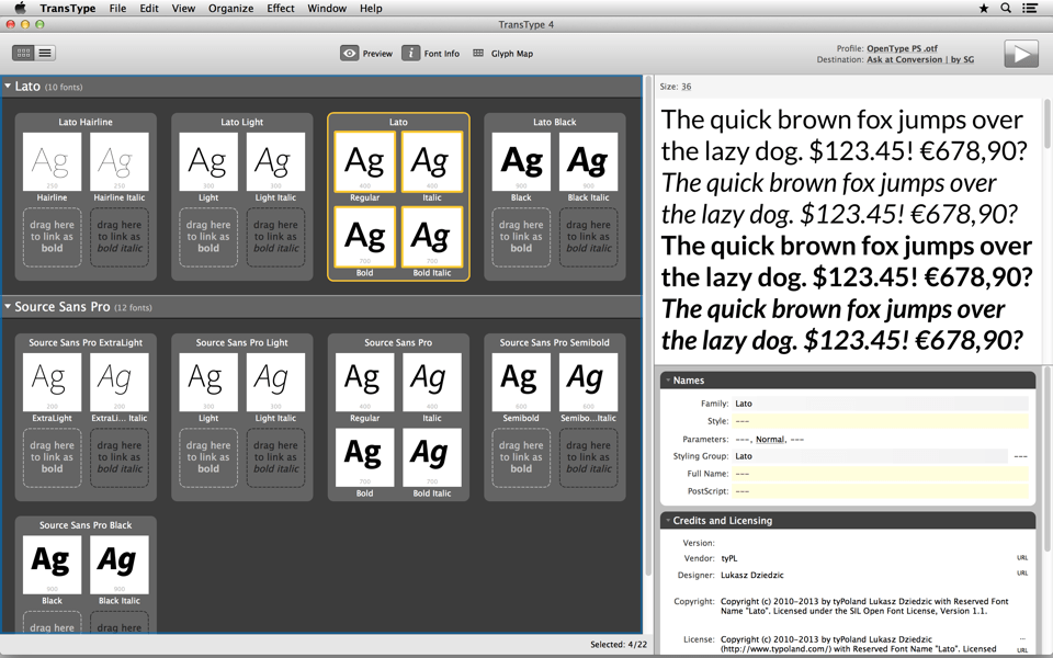 Organize and convert your fonts with simple and clean UI
