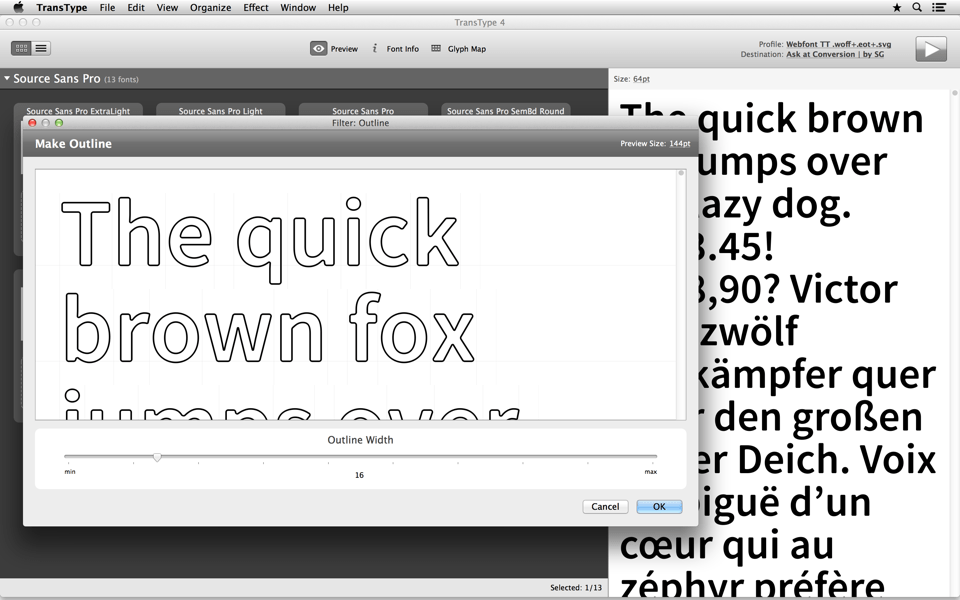 Modify fonts with effects like Blur, Smooth or Outline