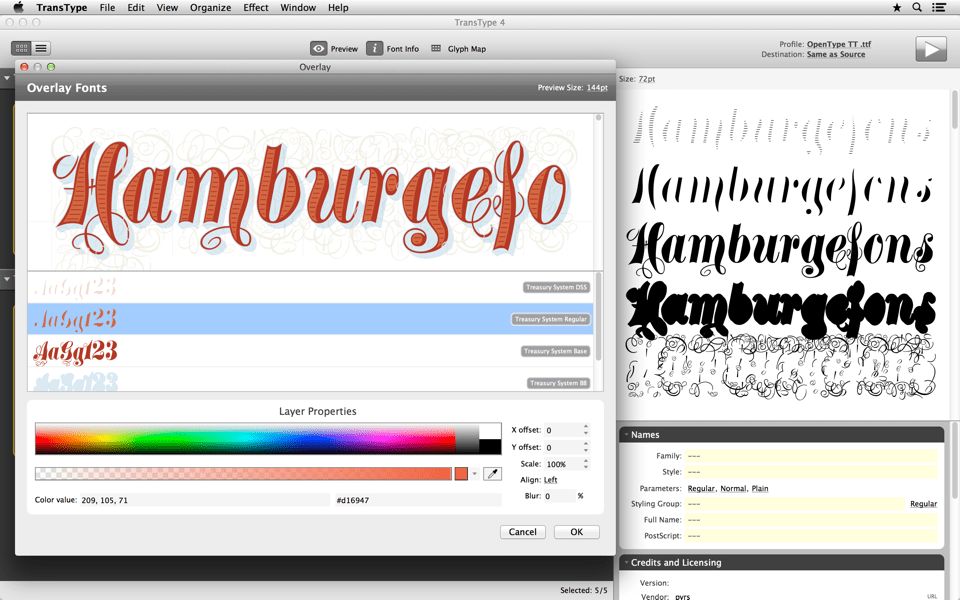 Open any series of layered monochrome fonts, Overlay them and export a color font