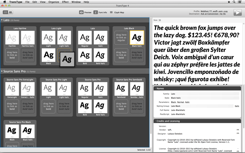 Drag-drop fonts within a styling group to set Bold and Italic style-linking