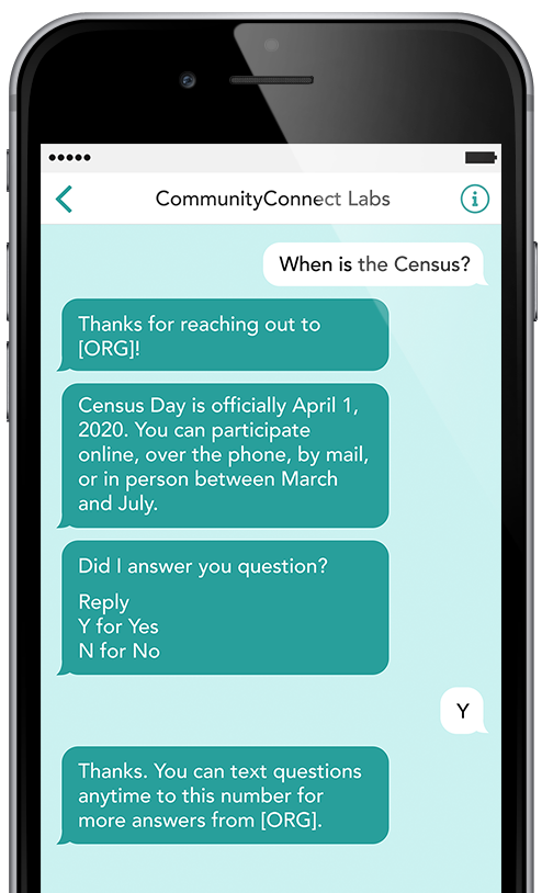 Text messaging Census helpdesk example on mobile phone