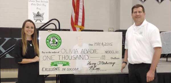 2015 Kelly Kicking Cancer Soccer Scholarship Recipient Olivia Abadie