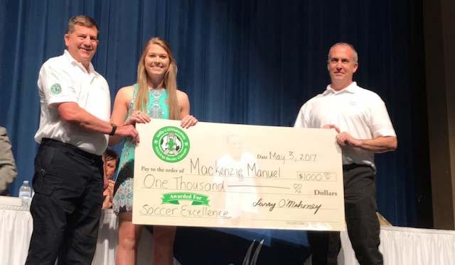 Soccer Scholarship presentation to Winner Mackenzie Manuel