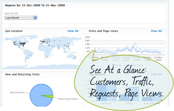 See at a glance: Customers, Traffic, Requests and Page Views